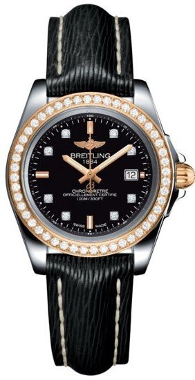 Breitling Galactic 32 Sleek Edition Trophy Black Diamond Dial Black Leather Strap Women's