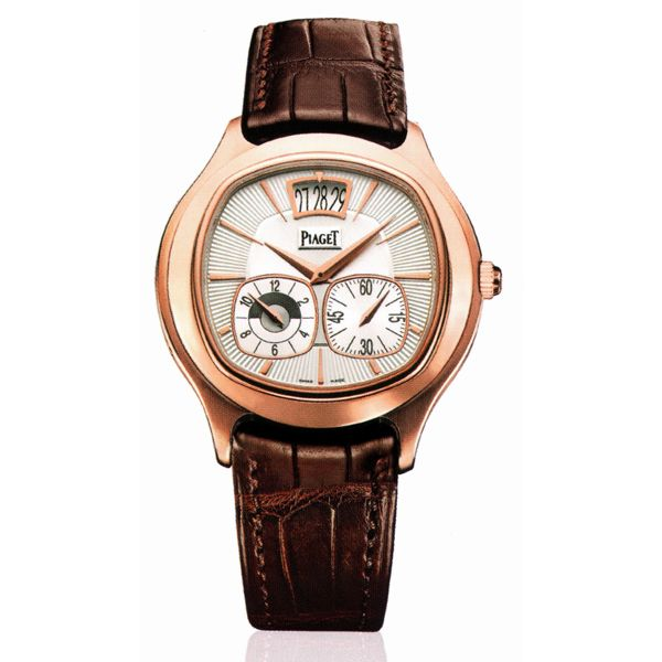 Piaget Emperador Automatic Silver Dial Brown Leather Men's