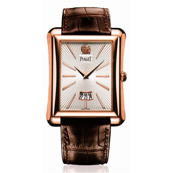 Piaget Emperador Silver Dial Brown Leather Men's