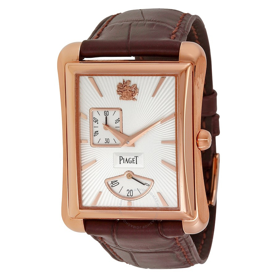 Piaget Black Tie Emperador Silver Dial Brown Leather Men's