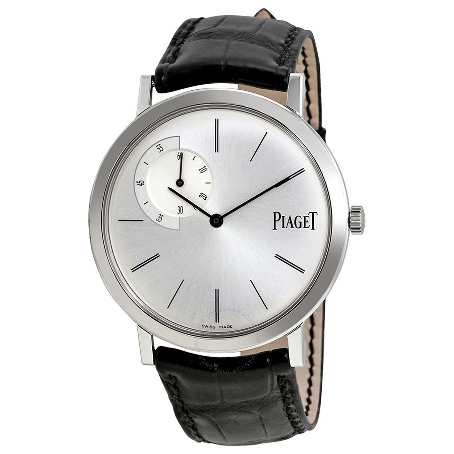 Piaget Altiplano Silver Dial Black Leather Automatic Men's