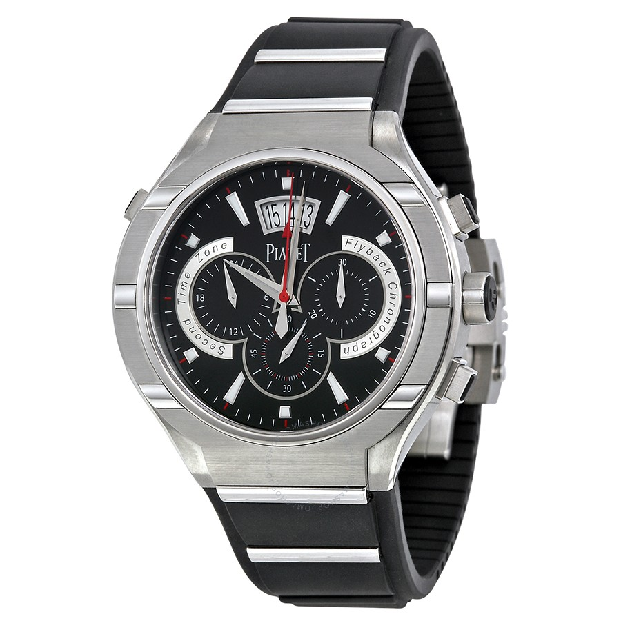 Piaget Polo Chronograph Automatic Black Dial Rubber Men's
