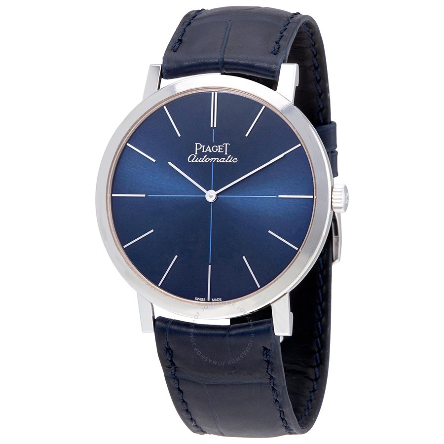 Piaget Altiplano Blue Dial Blue Leather Men's