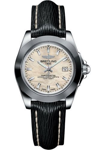 Breitling Galactic 32 Sleek Edition Mother of Pearl Dial Black Leather Strap Women's