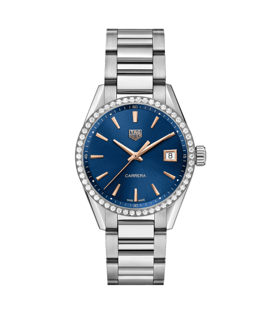 TAG Heuer Carrera Ladies Quartz Blue Dial with Diamonds Bezel Unisex