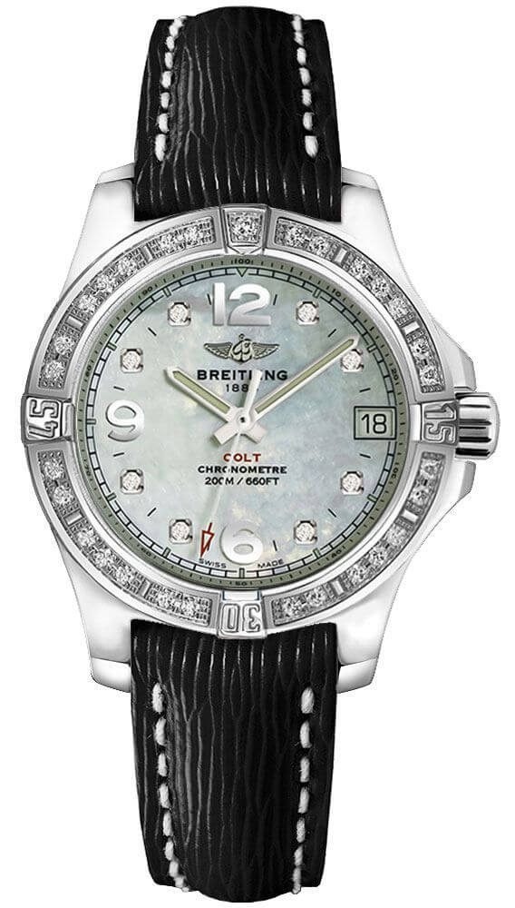 Breitling Colt Lady Mother of Pearl Diamond Dial Black Leather Strap Women's