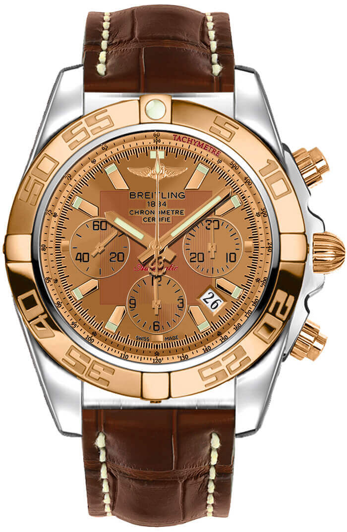 Breitling Chronomat 44 Steel and Rose Gold Polished Bezel Croco Strap Tang