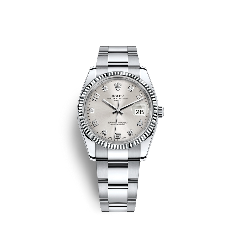 Rolex Date 34 Oystersteel 18 ct white gold M115234-0012 Silver set with diamonds Dial