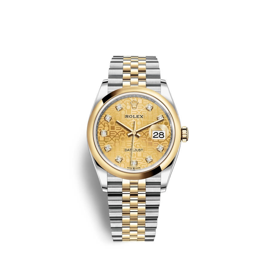 Rolex Datejust 36 Oystersteel 18 ct yellow gold M126203-0033 Champagne-colour set with diamonds Dial