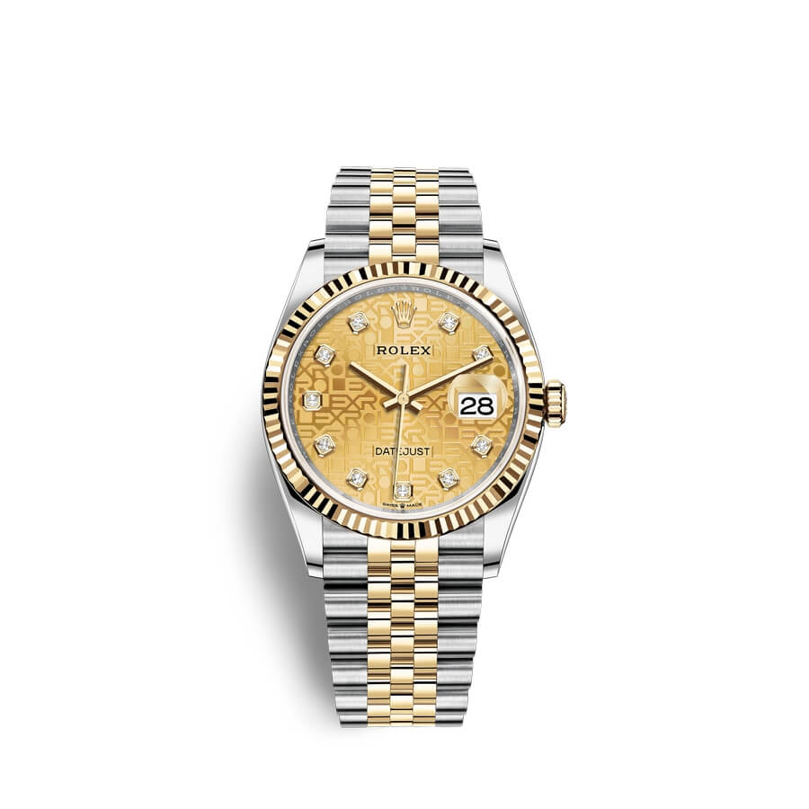 Rolex Datejust 36 Oystersteel 18 ct yellow gold M126233-0033 Champagne-colour set with diamonds Dial