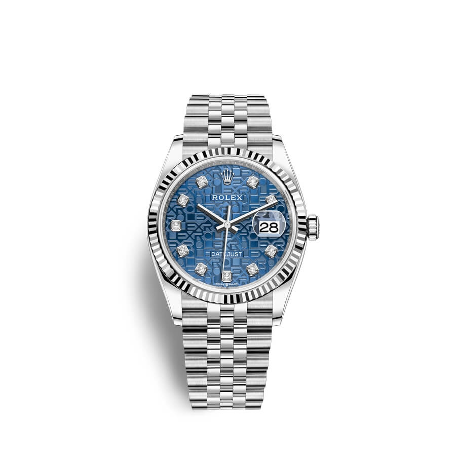 Rolex Datejust 36 Oystersteel 18 ct white gold M126234-0011 Blue jubilee design set with diamonds Dial