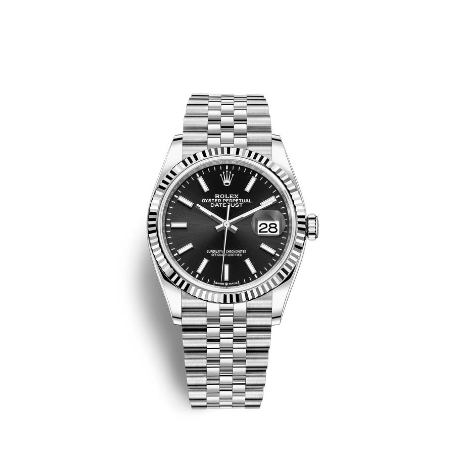 Rolex Datejust 36 Oystersteel 18 ct white gold M126234-0015 Black Dial