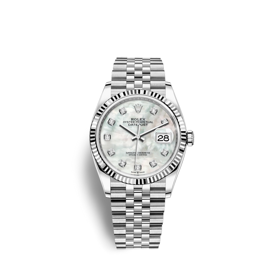 Rolex Datejust 36 Oystersteel 18 ct white gold M126234-0019 White mother-of-pearl set with diamonds Dial