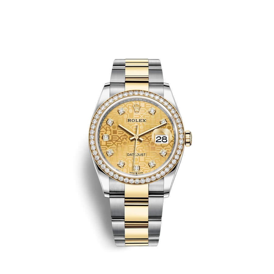 Rolex Datejust 36 Oystersteel 18 ct yellow gold M126283RBR-0020 Champagne-colour set with diamonds Dial