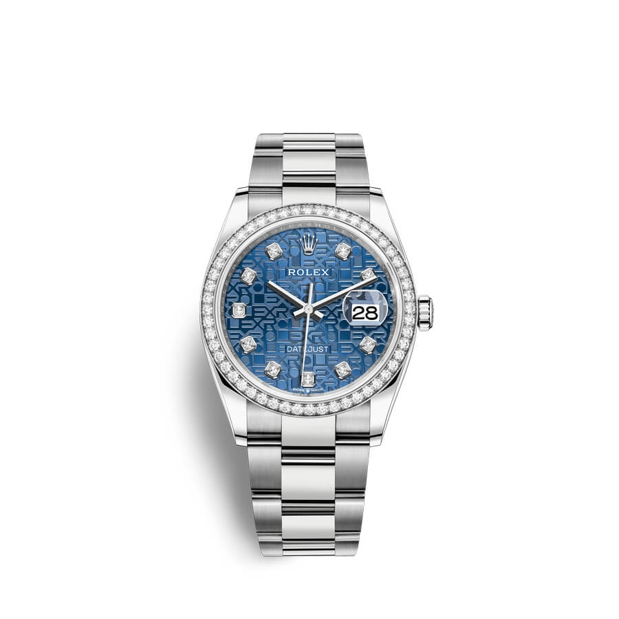 Rolex Datejust 36 Oystersteel 18 ct white gold M126284RBR-0004 Blue jubilee design set with diamonds Dial