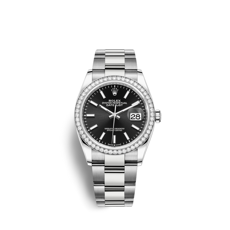 Rolex Datejust 36 Oystersteel 18 ct white gold M126284RBR-0008 Black Dial
