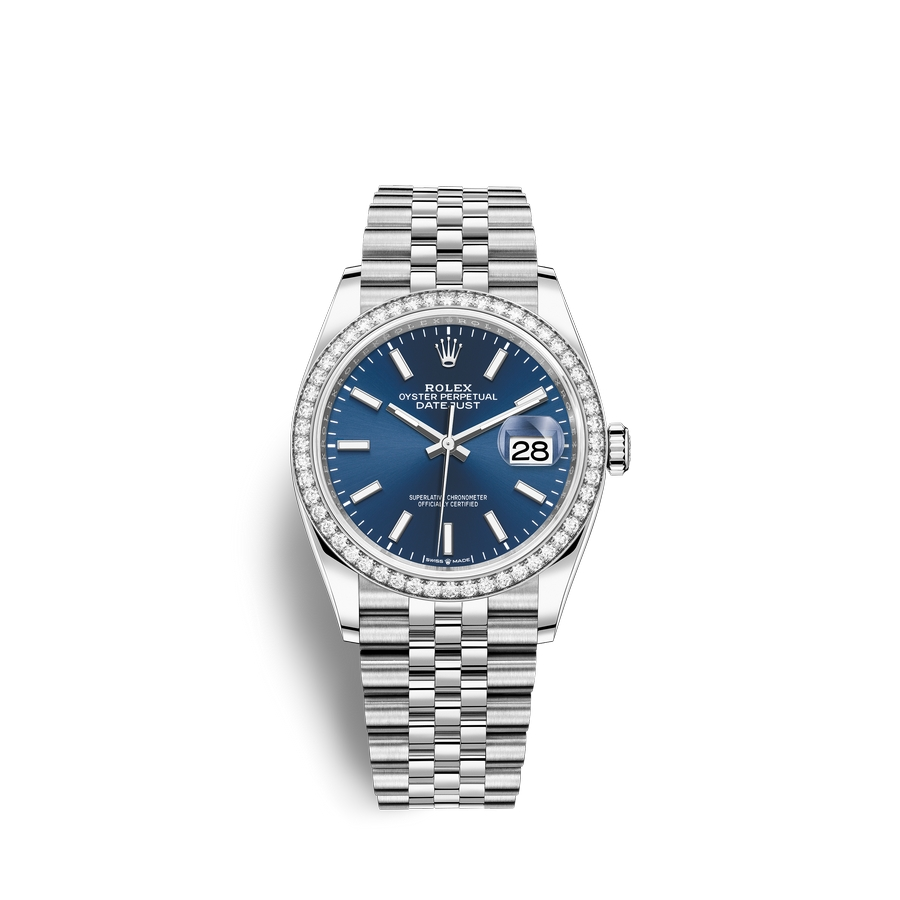 Rolex Datejust 36 Oystersteel 18 ct white gold M126284RBR-0009 Blue Dial
