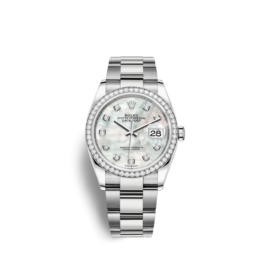 Rolex Datejust 36 Oystersteel 18 ct white gold M126284RBR-0012 White mother-of-pearl set with diamonds Dial