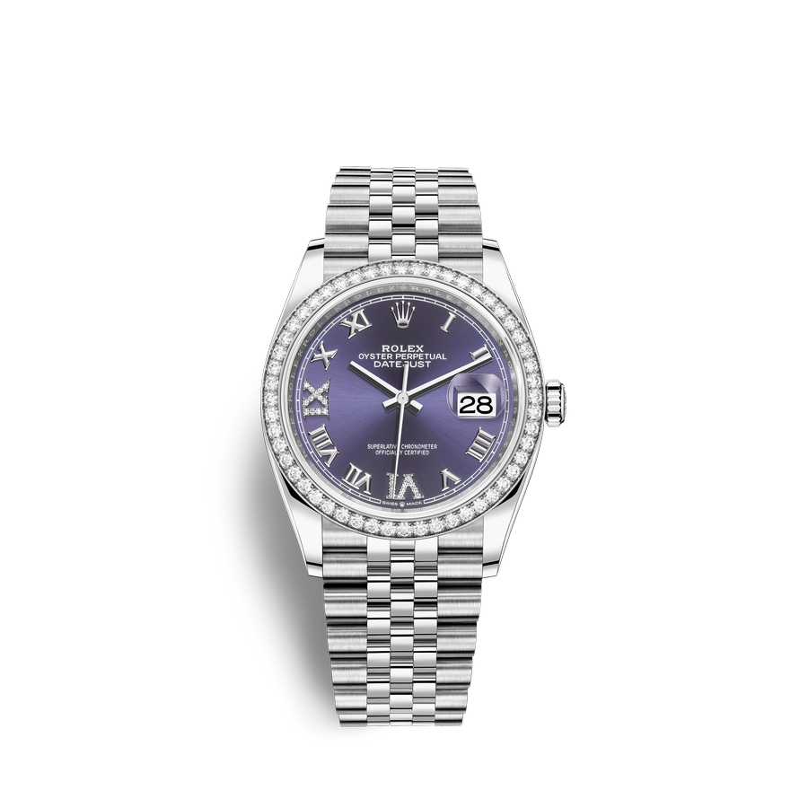 Rolex Datejust 36 Oystersteel 18 ct white gold M126284RBR-0013 Aubergine set with diamonds Dial