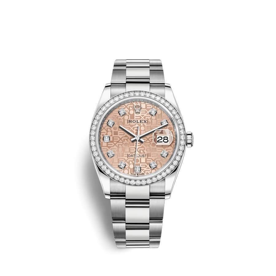 Rolex Datejust 36 Oystersteel 18 ct white gold M126284RBR-0016 Pink Jubilee design set with diamonds Dial