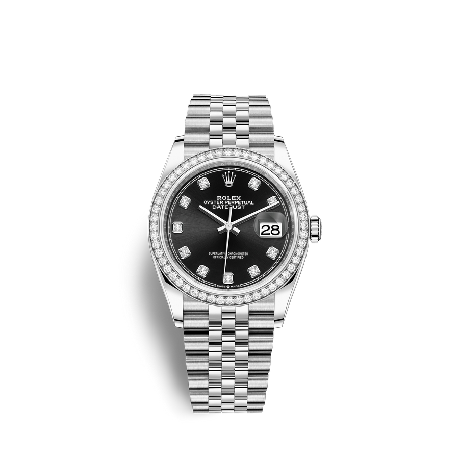 Rolex Datejust 36 Oystersteel 18 ct white gold M126284RBR-0019 Black set with diamonds Dial