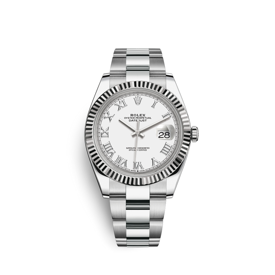 Rolex Datejust 41 Oystersteel 18 ct white gold M126334-0023 White Dial