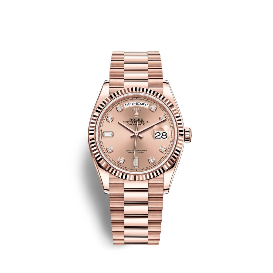 Rolex Day-Date 36 18 ct Everose gold M128235-0009 Ros?? colour set with diamonds Dial