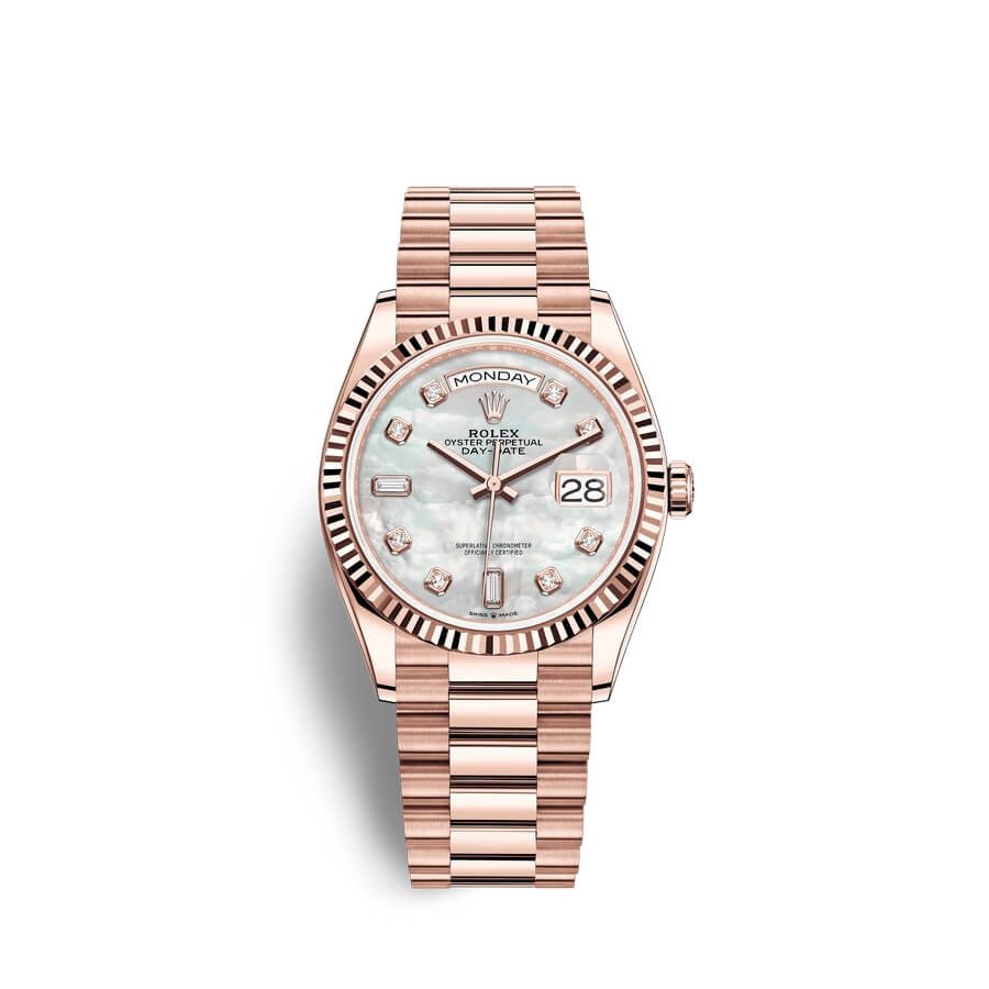 Rolex Day-Date 36 18 ct Everose gold M128235-0029 White mother-of-pearl set with diamonds Dial