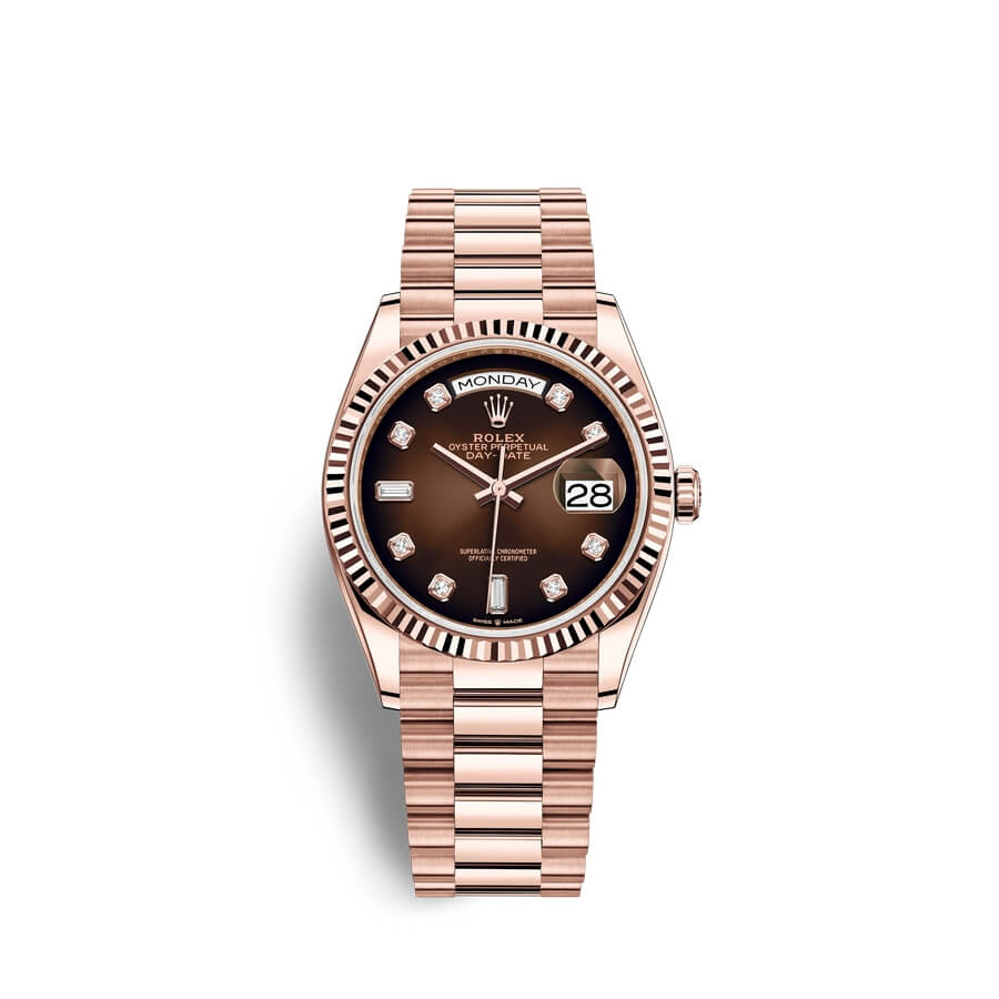 Rolex Day-Date 36 18 ct Everose gold M128235-0037 Brown ombre? set with diamonds Dial