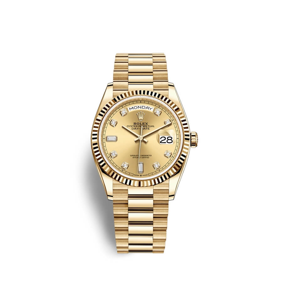 Rolex Day-Date 36 18 ct yellow gold M128238-0008 Champagne-colour set with diamonds Dial