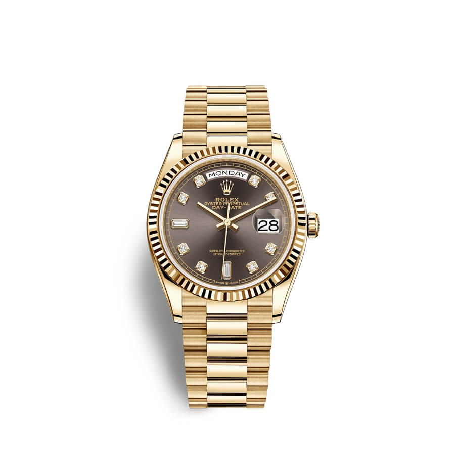 Rolex Day-Date 36 18 ct yellow gold M128238-0022 Dark grey set with diamonds Dial