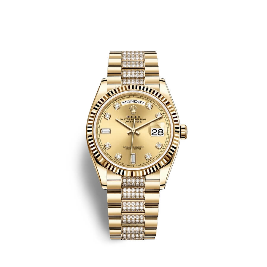 Rolex Day-Date 36 18 ct yellow gold M128238-0026 Champagne-colour set with diamonds Dial