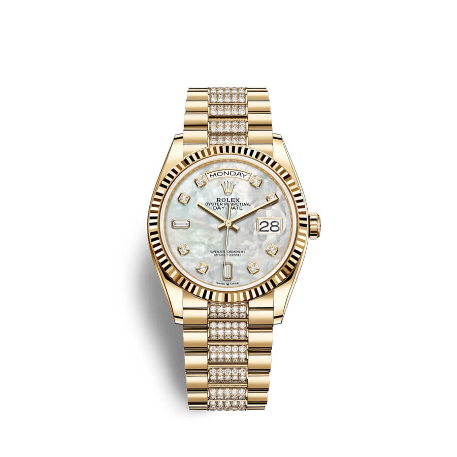 Rolex Day-Date 36 18 ct yellow gold M128238-0032 White mother-of-pearl set with diamonds Dial