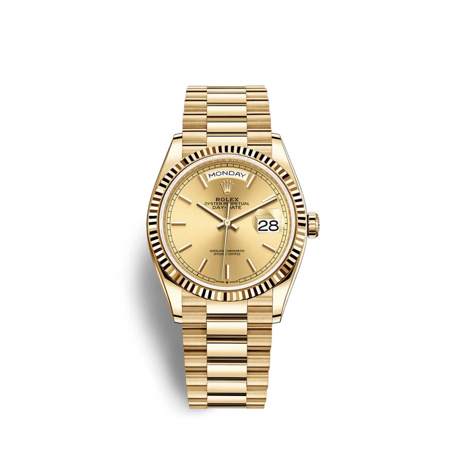 Rolex Day-Date 36 18 ct yellow gold M128238-0045 Champagne-colour Dial
