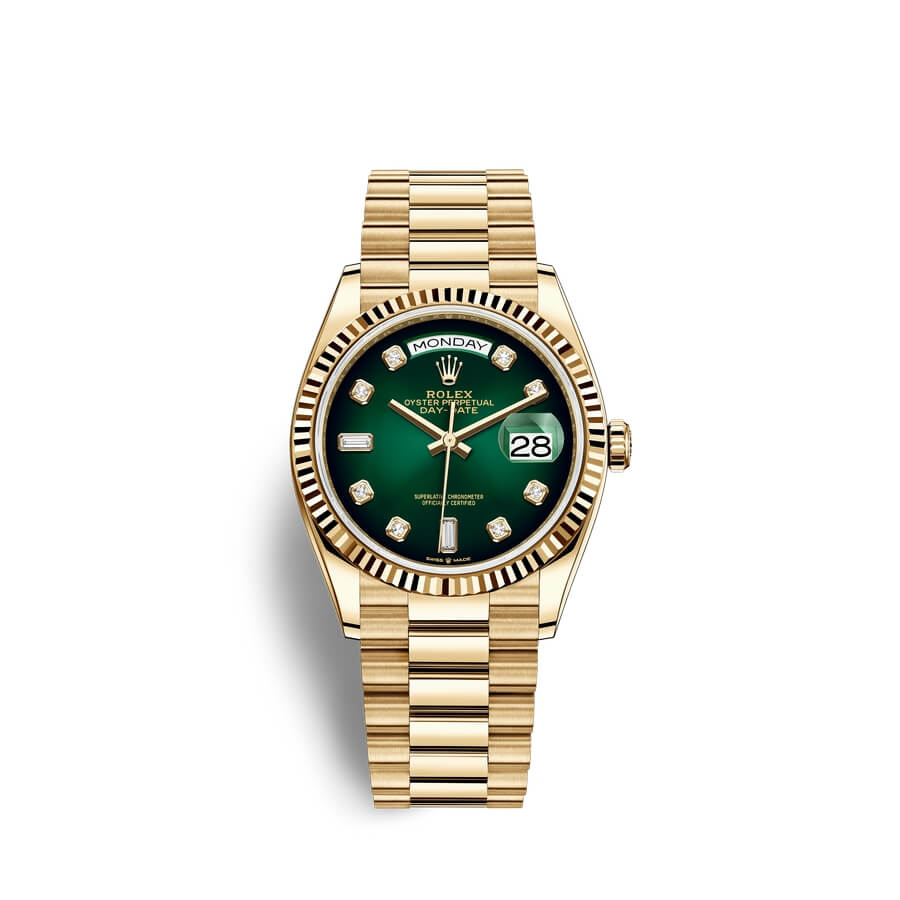 Rolex Day-Date 36 18 ct yellow gold M128238-0069 Green ombre? set with diamonds Dial