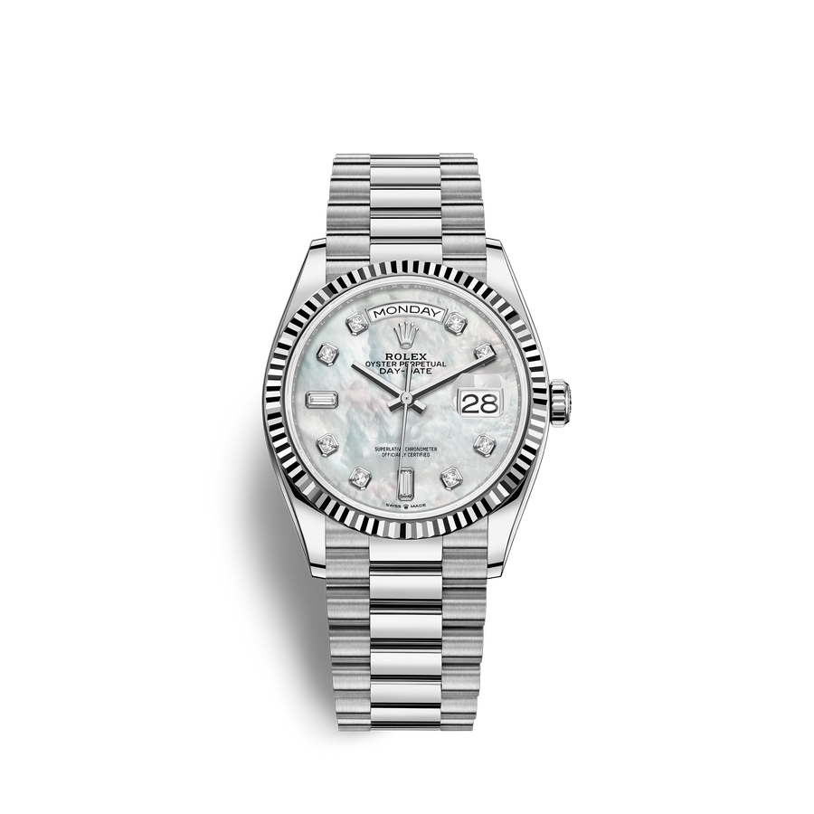 Rolex Day-Date 36 18 ct white gold M128239-0007 White mother-of-pearl set with diamonds Dial