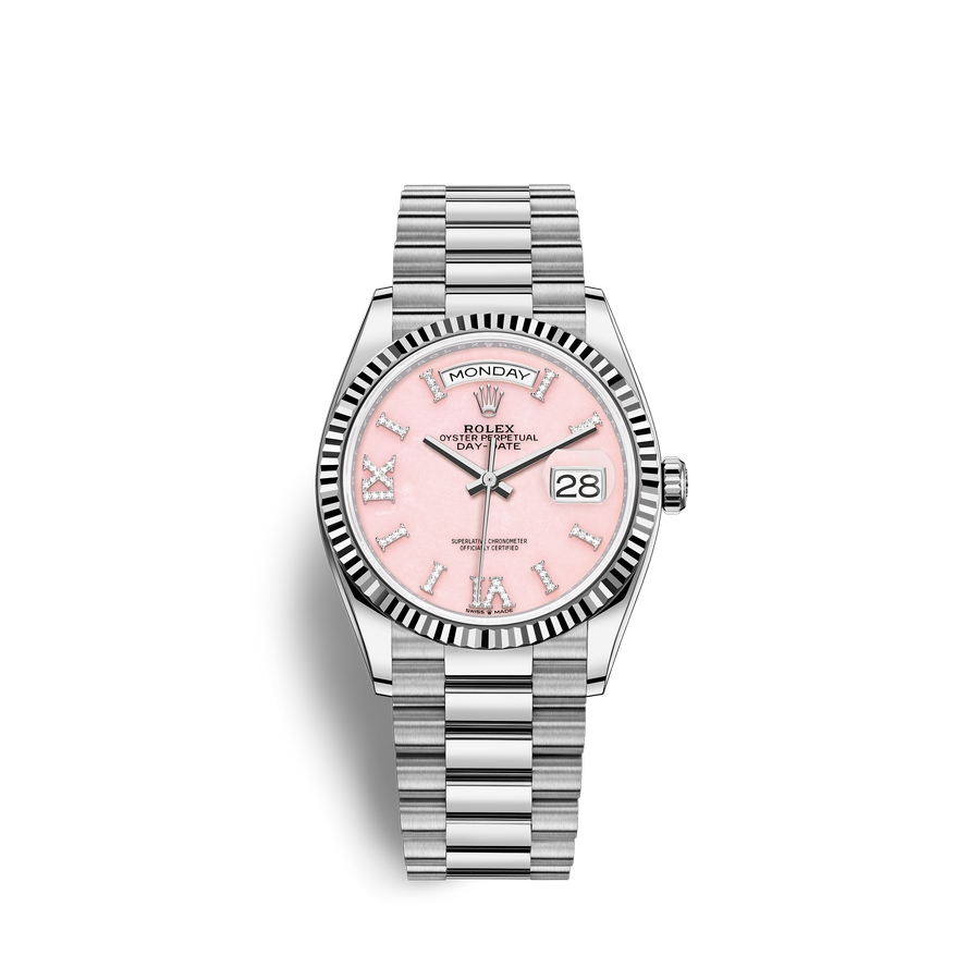 Rolex Day-Date 36 18 ct white gold M128239-0021 Pink opal set with diamonds Dial