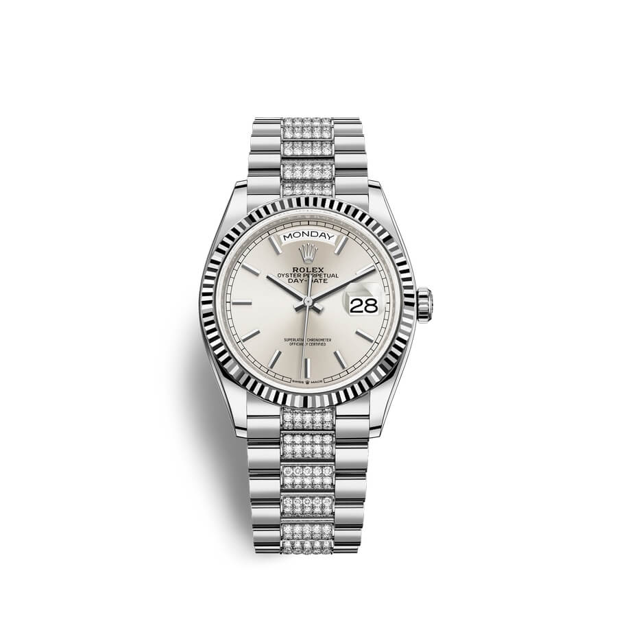 Rolex Day-Date 36 18 ct white gold M128239-0025 Silver Dial