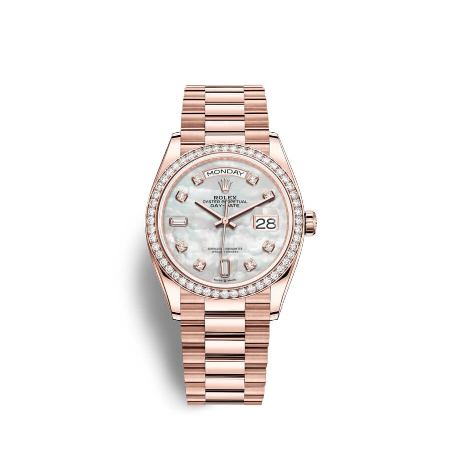 Rolex Day-Date 36 18 ct Everose gold M128345RBR-0028 White mother-of-pearl set with diamonds Dial