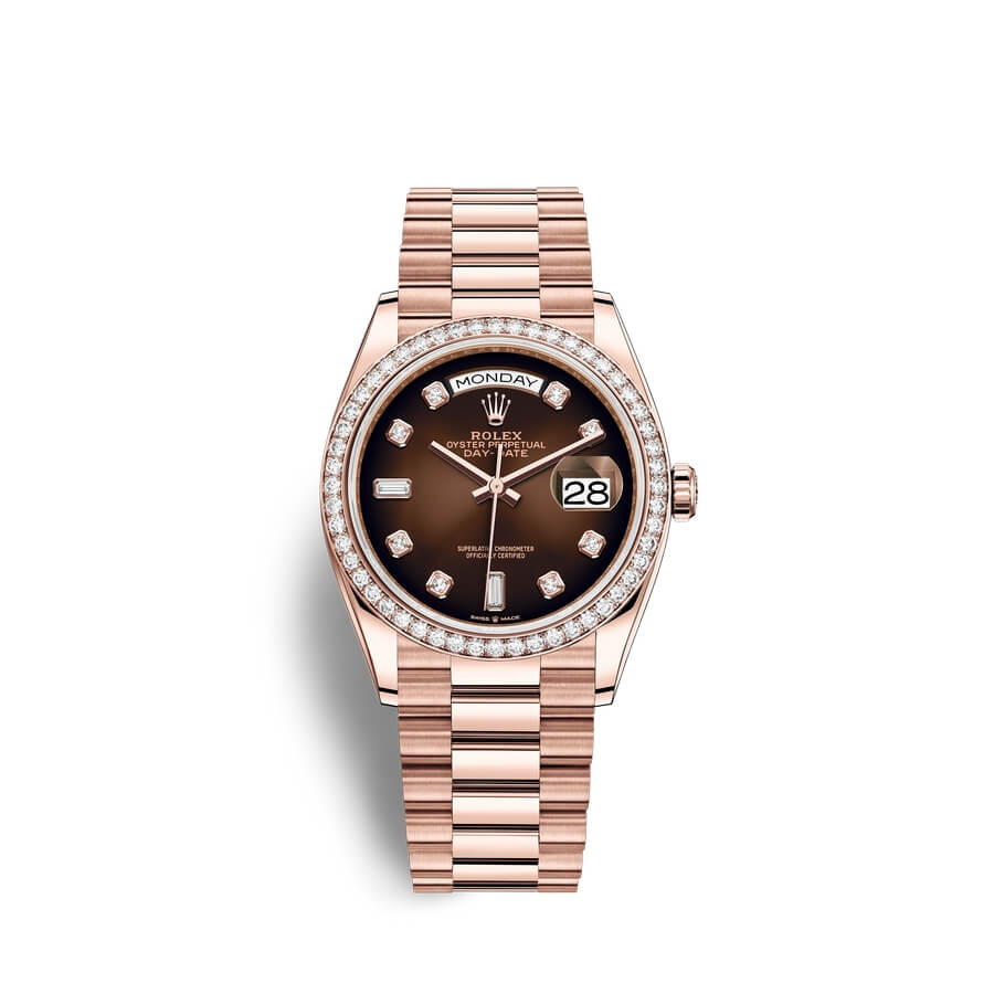 Rolex Day-Date 36 18 ct Everose gold M128345RBR-0040 Brown ombre? set with diamonds Dial