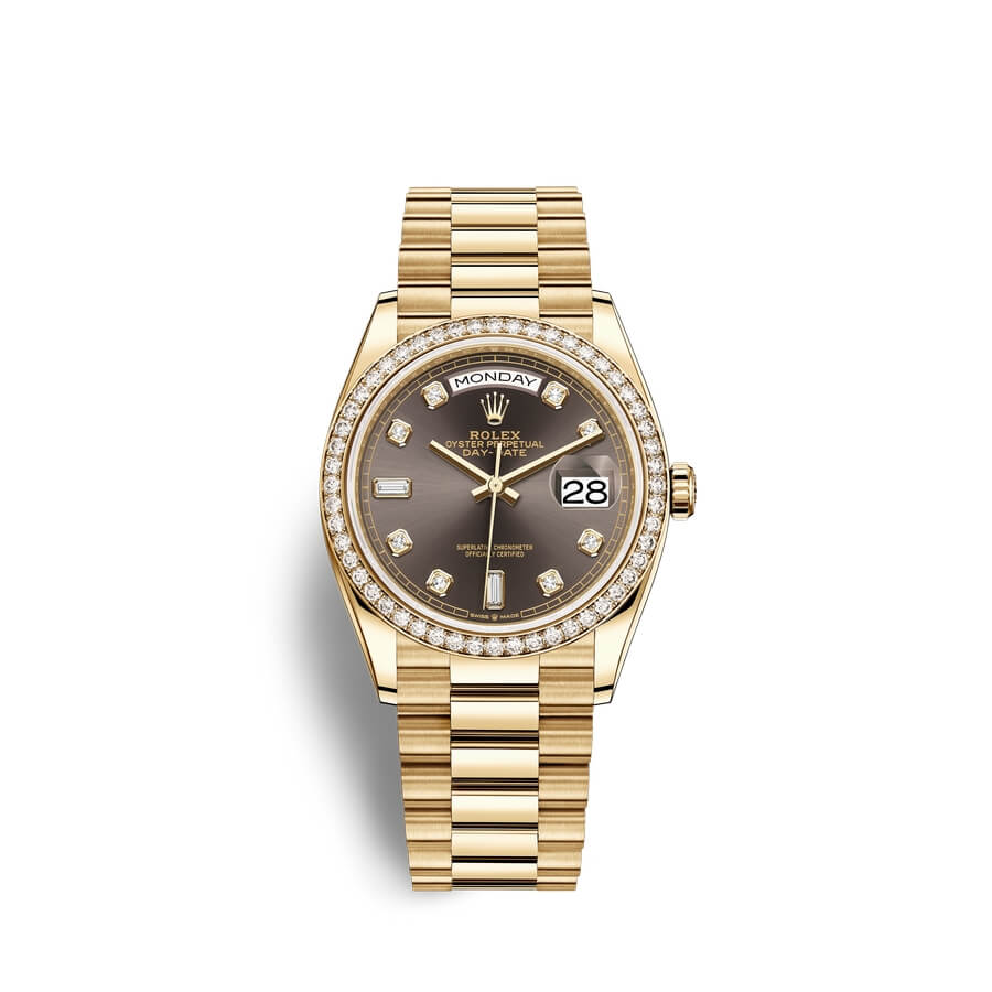 Rolex Day-Date 36 18 ct yellow gold M128348RBR-0005 Dark grey set with diamonds Dial