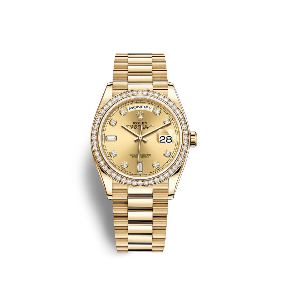Rolex Day-Date 36 18 ct yellow gold M128348RBR-0008 Champagne-colour set with diamonds Dial