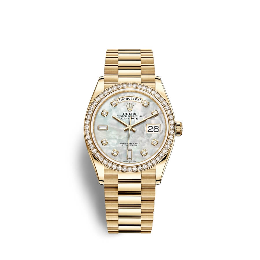 Rolex Day-Date 36 18 ct yellow gold M128348RBR-0017 White mother-of-pearl set with diamonds Dial