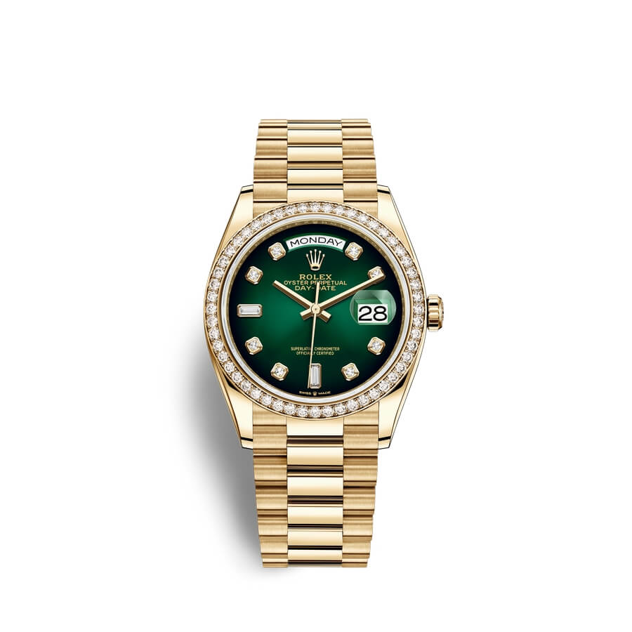 Rolex Day-Date 36 18 ct yellow gold M128348RBR-0035 Green ombre? set with diamonds Dial