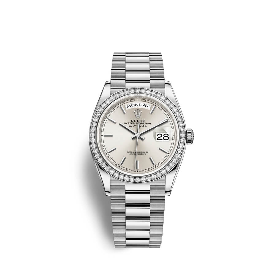 Rolex Day-Date 36 18 ct white gold M128349RBR-0001 Silver Dial
