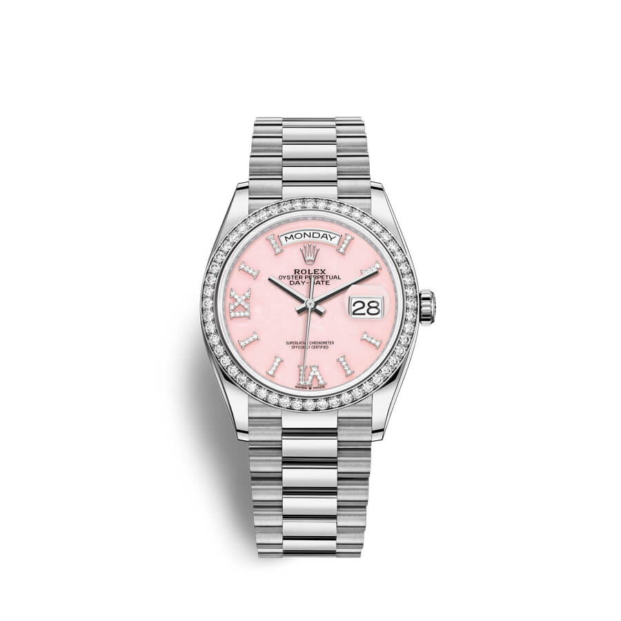 Rolex Day-Date 36 18 ct white gold M128349RBR-0008 Pink opal set with diamonds Dial
