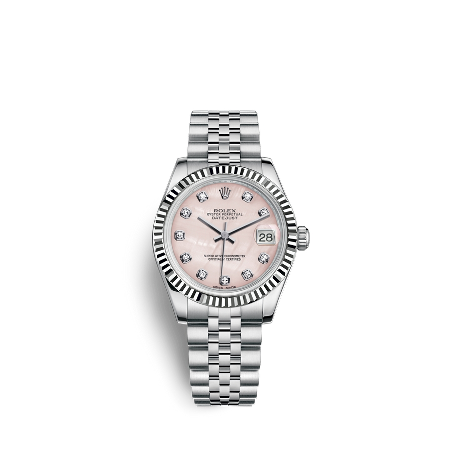 Rolex Datejust 31 Oystersteel 18 ct white gold M178274-0043 Pink mother-of-pearl set with diamonds Dial