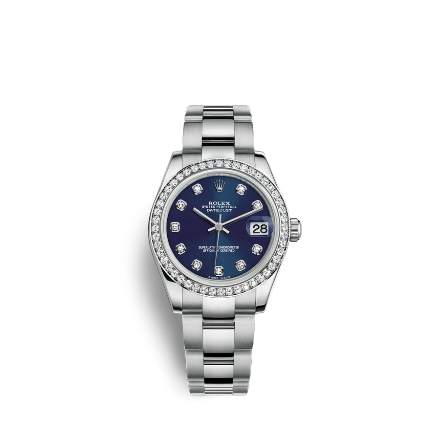 Rolex Datejust 31 Oystersteel 18 ct white gold M178384-0067 Blue set with diamonds Dial