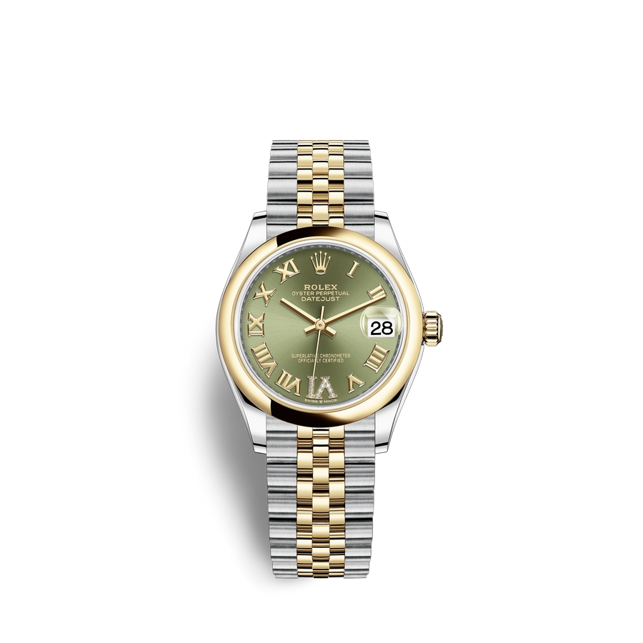 Rolex Datejust 31 Oystersteel 18 ct yellow gold M278243-0016 Olive green set with diamonds Dial