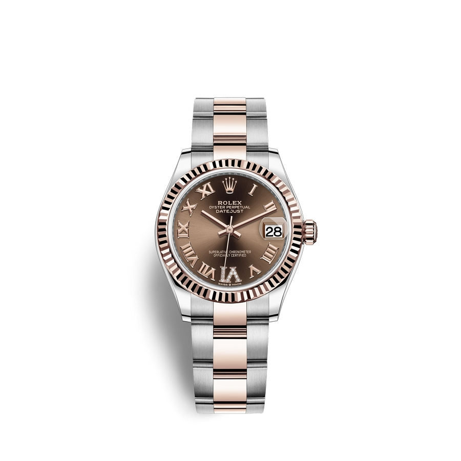 Rolex Datejust 31 Oystersteel 18 ct Everose gold M278271-0003 Chocolate set with diamonds Dial